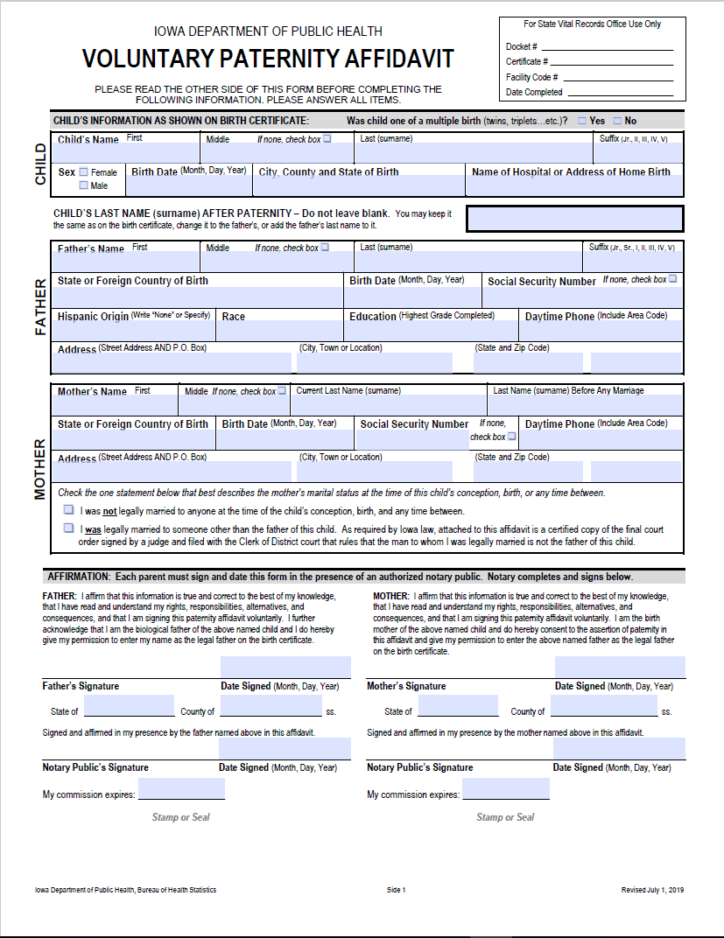 Paternity Affidavit Information for Parents | Child Welfare
