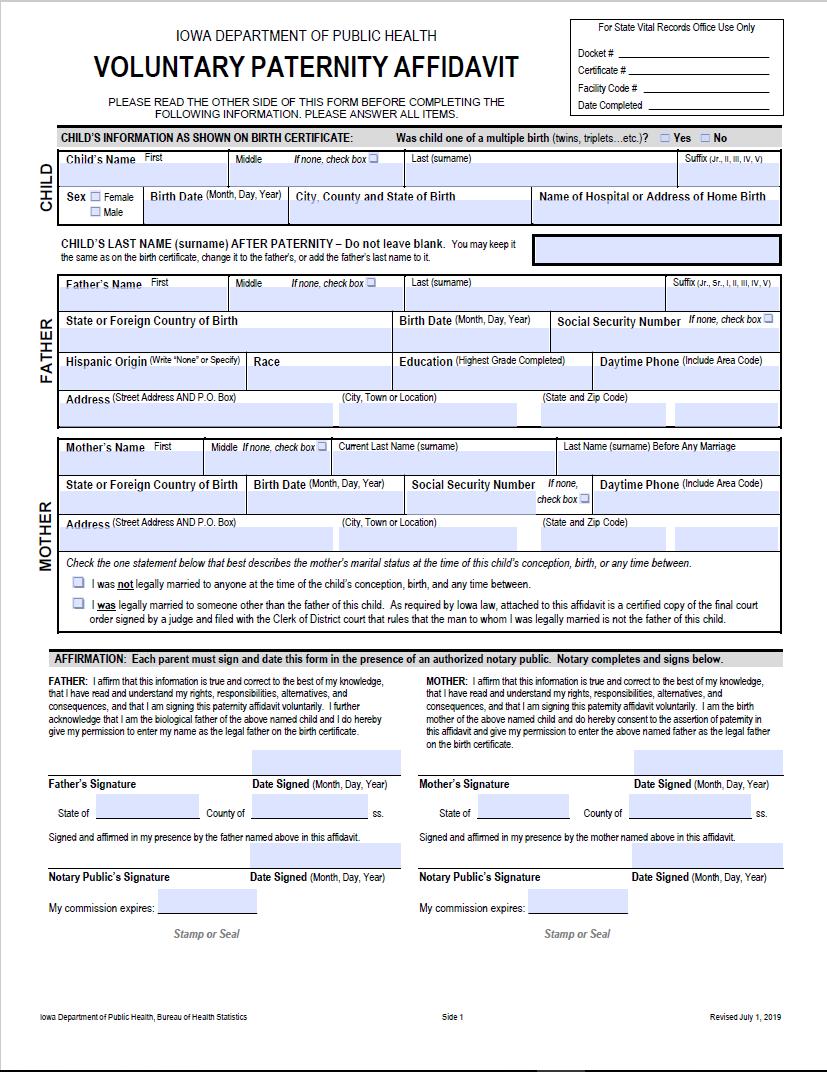 Paternity Affidavit Program | Child Welfare Research and
